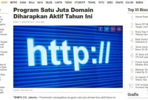 Sejuta domain ditargetkan ada isinya tahun ini.
