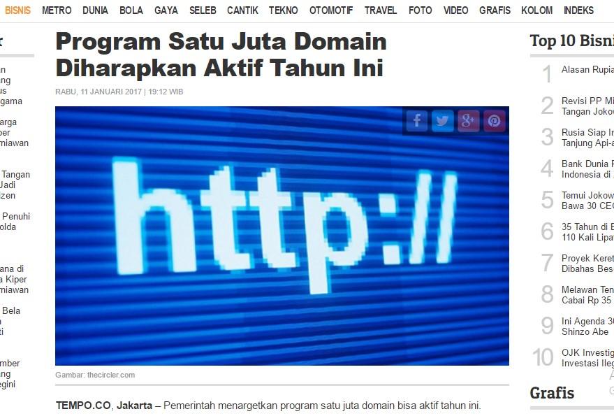 Program Sejuta Domain Internet Baru 4% Ada Isinya